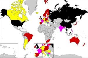 Verkleinerte Karte der Überwachungsstaaten