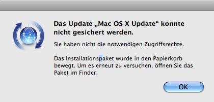 """Das Update """"Mac OS X Update"""" konnte nicht gesichert werden."""