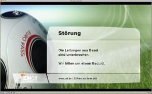 Die Leitungen aus Basel sind unterbrochen. Wir bitten um etwas Geduld. (ZDF)