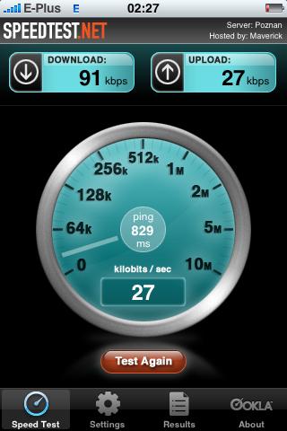 Geschwindigkeitstest im E-Plus-EDGE-Netz