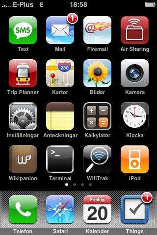 iPhone Homescreen mit E-Plus EDGE-Symbol