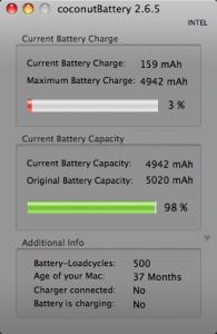 MacBook-Akku-Zustand nach 500 Ladezyklen