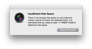 """There is not enough free space on your Aperture Library Volume to import the selected items. It is estimated that you need at least 17179869175GB of additional free space."""
